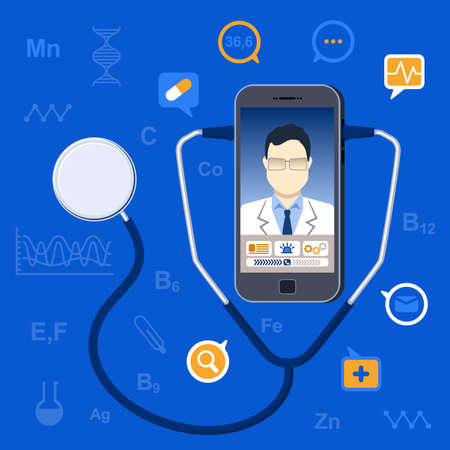 Vector illustration in flat style. Online medicine concept. mobile phone with app for healthcare - online consultation with doctor. Online doctor concept with smartphone, stethoscope, icons Stock Illustratie
