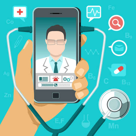 Vector illustration in flat style. tele medicine concept. Hand holding mobile phone with app for healthcare - online consultation with doctor. Online doctor concept with smartphone, stethoscope, icons