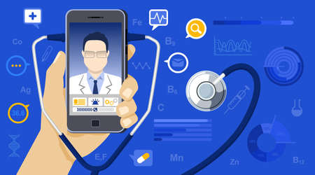 Vector illustration in flat. medicine concept. Hand holding mobile phone with app for healthcare online consultation with doctor. Online doctor concept with icons, stethoscope and Infographic elements Stock Illustratie