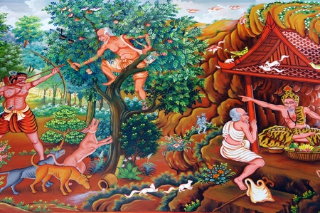 loei: Traditional Thai painting art about buddist story on temple wall in Wat Neramitr, Loei Thailand