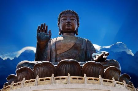 po: Giant Buddha Statue at Po Lin Monastery, Hong Kong Stock Photo