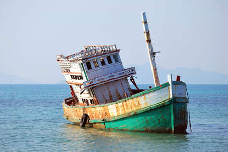 Abandoned Boat at Koh Mak, Trad, Thailand Stock Photo - 22348104
