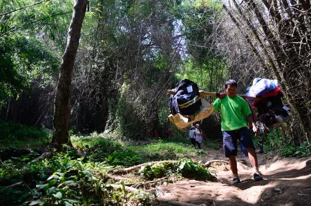loei: LOEI, THAILAND - OCT 13  Unidentified porters carry climbers  belongings on 13 October 2013 at Phu Kradueng National Park, Loei, Thailand