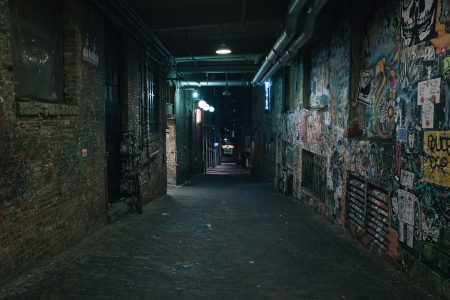 Darkness in a old grunge dirty street in the middle of night Stock Photo - 21844212