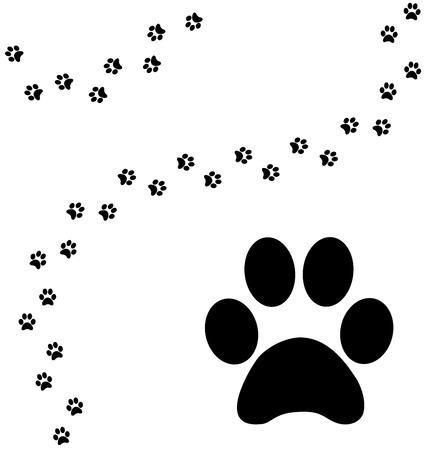 animal print: Percorso di zampa di gatto di stampa curvo Vettoriali