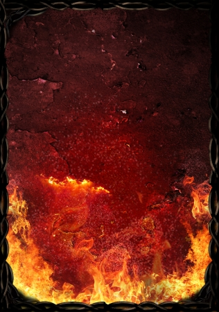 Hot rusty surface with flames of fire and ornamental border