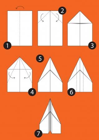 折り紙飛行機-7 つのステップの指示を作る方法