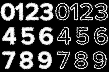 on cloud nine: Isolated Numbers made from clouds on a black  Stock Photo