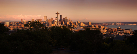 Panorama of Seattle city during beautiful warm sunset photo