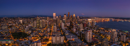 Seattle city nightlife after sunset from the Space Needle in the warm summer day photo