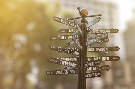 パイオニア コートハウス スクエア道標, ポートランド、オレゴンの先駆者に世界のランドマークに指向性マーカー