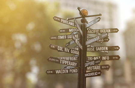 Pioneer Courthouse Square Signpost, Directional Marker to world landmarks on Pioneer in Portland, Oregon