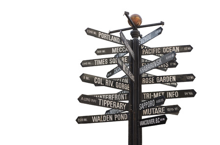 Pioneer Courthouse Square Signpost, Directional Marker to world landmarks isolated on a white background