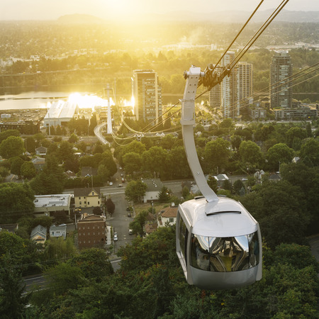 Aerial tram in Portland, Oregon transporting people to and from the hilltop where is also Oregon Health and Science University (OHSU)