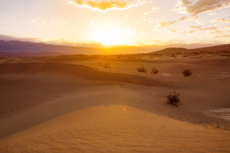 Sunrise over sand dunes in Death Valley, California, USA photo
