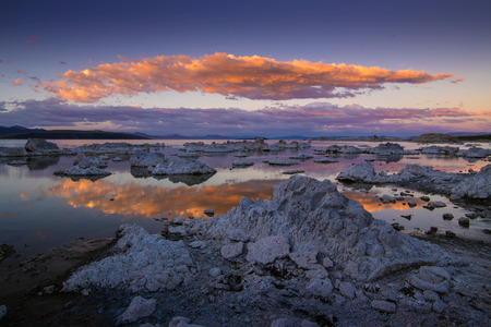 ca: Surface of Mono lake in California with reflection of a cloudy sunset