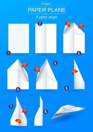 Instructions how to make a origami paper plane in 6 easy steps Stock Illustratie