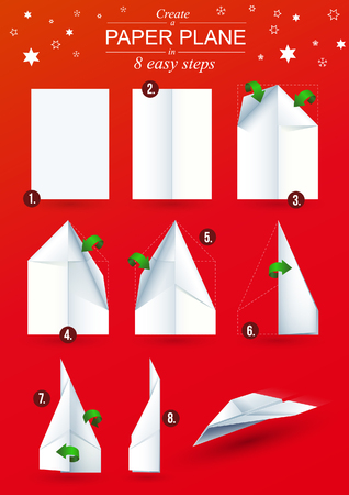 Christmas Edition ? Instructions how to make a origami paper plane in 8 easy steps Vector