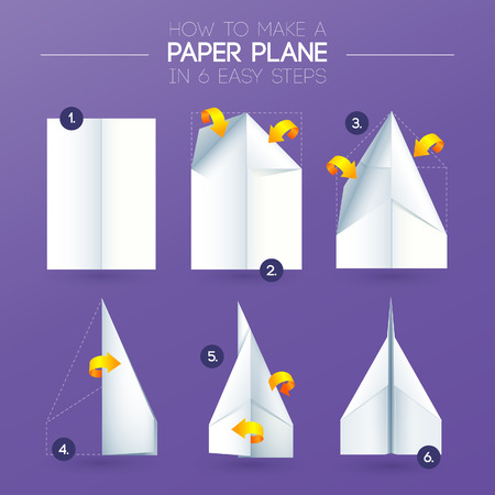 Instructions how to make a origami paper plane in 6 easy steps Vector