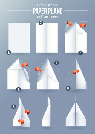 Instructions how to make a origami paper plane in 8 easy steps