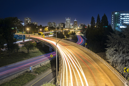 Night traffic in Portland, Oregon, USA Stock Photo