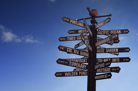 places of interest: Travel the World! World Landmarks Signpost with blue sky and free copy space for your text