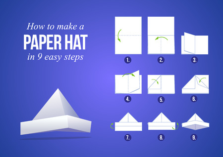 instruction sheet: Instructions how to make a paper hat in 9 steps with purple background DIY do it yourself Illustration