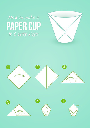 few: Tutorial how to create origami paper cup in few simple steps