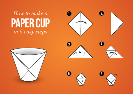 step by step: Tutorial how to create origami paper cup in few simple steps