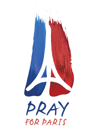 orando: Homenaje a todas las víctimas de París terrorista Ilustración attact hechas por roce de un símbolo con las manos de rogación, Torre Eiffel y el símbolo de la paz. Oren por París, la paz para París. Vectores