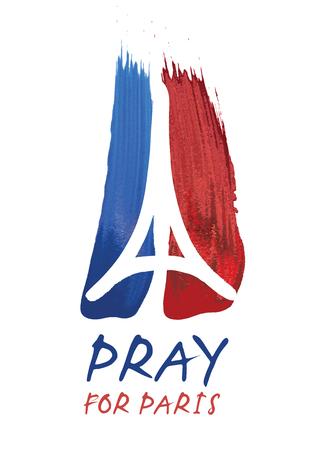 symbol: Omaggio a tutte le vittime di Parigi terrorista attact illustrazione fatta a pennello di un simbolo con mani in preghiera, la Torre Eiffel e il simbolo della pace. Pregate per Parigi, la pace per Parigi.