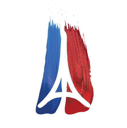 pray: Tribute to all victims of Paris terrorist attact  Illustration made by brush of a symbol with praying hands, Eiffel tower and symbol for peace. Pray for Paris, Peace for Paris. Çizim