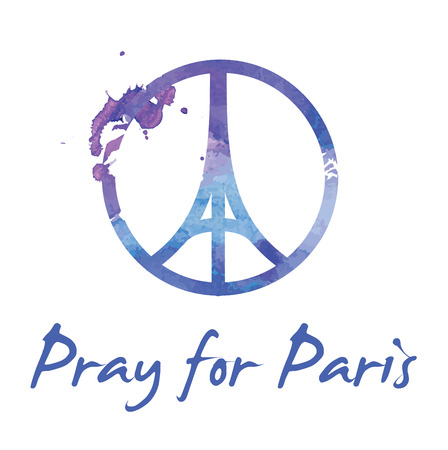 tribute: Tribute to all victims of Paris terrorist attact  Illustration made by watercolor brush of a symbol with praying hands, Eiffel tower and symbol for peace. Pray for Paris, Peace for Paris. Illustration