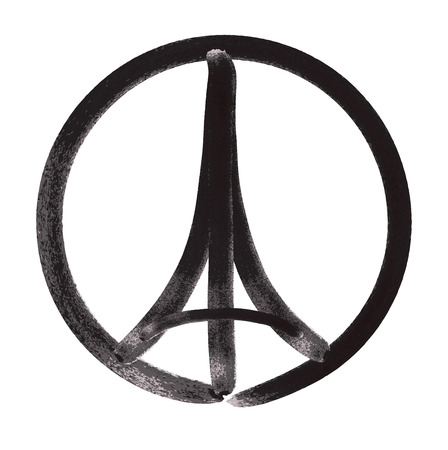 peace concept: Tribute to all victims of Paris terrorist attact  Illustration made by marker brush of a symbol with praying hands, Eiffel tower and symbol for peace. Pray for Paris, Peace for Paris. Illustration
