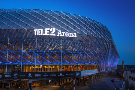 STOCKHOLM, SWEDEN - March 5: Tele2 Arena located in Johanneshov which is a multi-purpose building for variety of events including music parties and sport activities like footbal. Detail on TELE2 sign