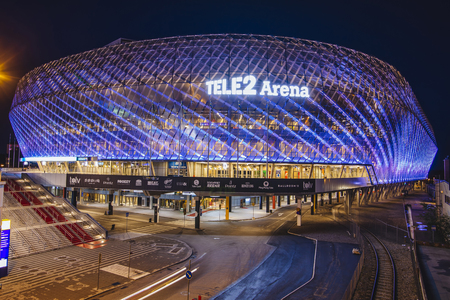 STOCKHOLM, SWEDEN - March 5: Tele2 Arena located in Johanneshov which is a multi-purpose building for variety of events including music parties and sport activities like footbal