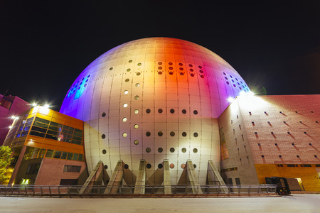 STOCKHOLM, SWEDEN - March 5: Ericsson globe in Stockholm, Sweden. Currently the largest hemispherical building in the world for different events and sport actions.