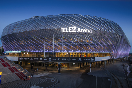 STOCKHOLM, SWEDEN - March 5: Tele2 Arena located in Johanneshov which is a multi-purpose building for variety of events including music parties and sport activities like footbal.