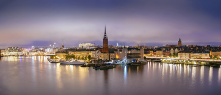 Sweden, Sotckholm City Skyline During Late Sunset, view from Old Town pier to Sodermalm district