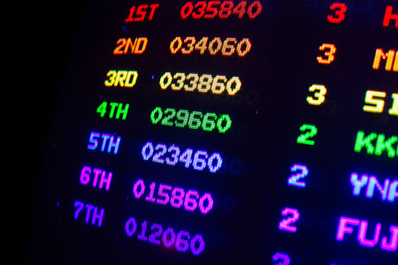 Score overview detail on an old vintage video arcade game with colorful results from first to seventh player, each colored with different color