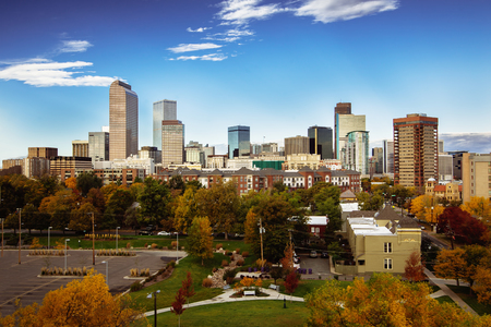 Denver city skyline during early morning in autumn season; Stock Photo