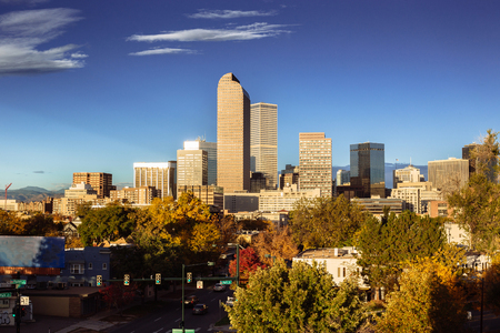 Denver city skyline during early morning in autumn season Stock Photo