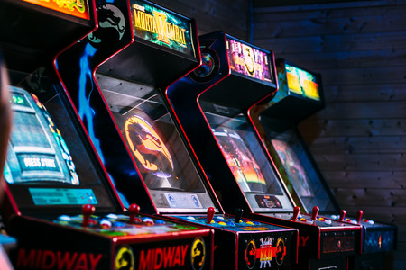 Row of cult action old arcade video games from late 90's era
