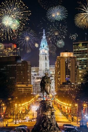 Fireworks During New Years Eve in Philadelphia, Pennsylvania, USA Stock Photo