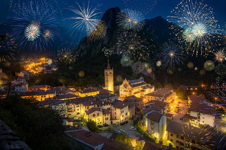 Fireworks in Gerona, with Cathedral of Santa Maria Assunta