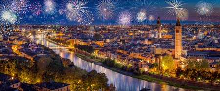Fireworks During New Years Eve in Verona, Italy