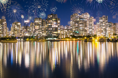 Fireworks During New Years Eve in Vancouver, British Colombia, USA