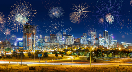 Fireworks During New Years Eve in Denver City, USA Imagens