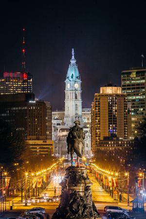 View of downtown Philadelphia, Pennsylvania at night from the Philadelphia Museum of Art