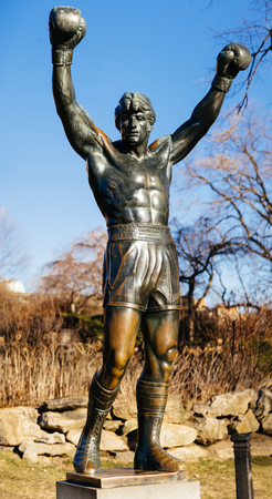 PHILADELPHIA - October 12, 2017: Rocky Balboa Statue in front of the Philadelphia Museum of Arts. Originally created for Rocky III, the sculpture is now a real-life monument to a movie hero.